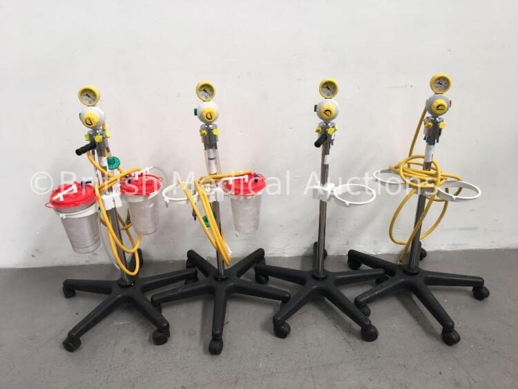 4 x EasyVac Regulators on Stands with 3 x Suction Cups and 3 x Hoses