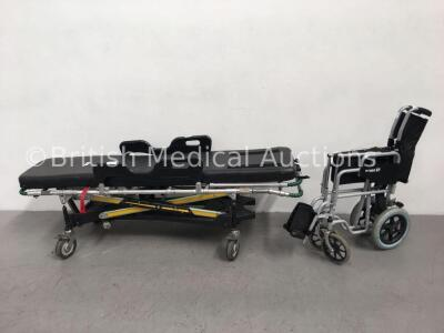 1 x Ferno Pegasus Ambulance Stretcher with Mattress (Unable to Test Due to No Hydraulic Foot Pedal) and 1 x Roma Medical Manual Wheelchair