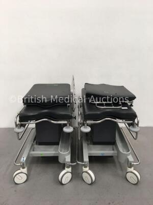 2 x Anetic Aid QA2 Hydraulic Patient Trolleys with Mattresses (Hydraulics Tested Working)
