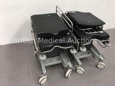 2 x Anetic Aid QA2 Hydraulic Patient Trolleys with Mattresses (Hydraulics Tested Working) - 4