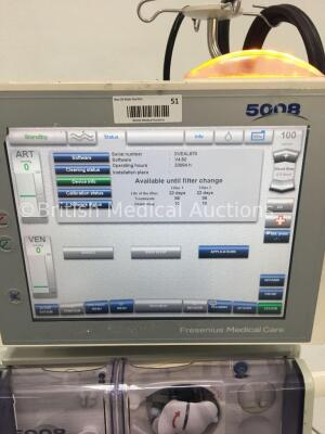 Fresenius Medical Care 5008 CorDiax Dialysis Machine Software Version 4.50 / Operating Hours 33084 with Hoses (Powers Up) * Mfd 2010 * - 2