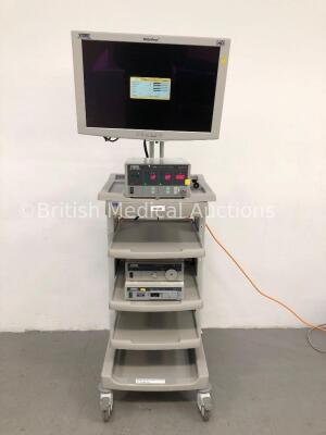 Karl Storz Stack Trolley Including Storz WideView HD Monitor, Storz SCB Electronic Endoflator 264305 20 Unit, Storz Xenon Nova 201315 20 Light Source