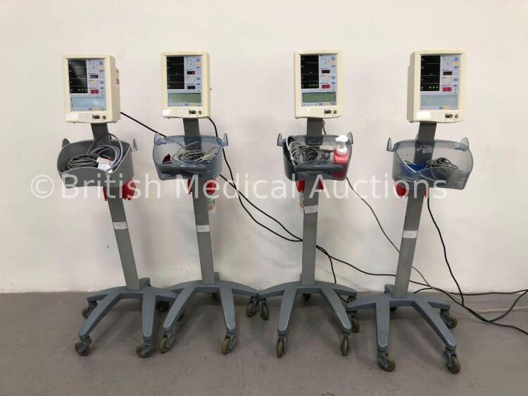 4 x Datascope Accutorr Plus Patient Monitors on Stands with 4 x BP Hoses,4 x BP Cuffs and 4 x SpO2 Finger Sensors (All Power Up)