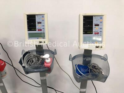 4 x Datascope Accutorr Plus Patient Monitors on Stands with 4 x BP Hoses,4 x BP Cuffs and 4 x SpO2 Finger Sensors (All Power Up) - 3