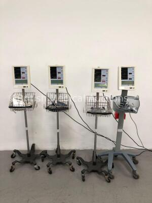 4 x Datascope Accutorr Plus Patient Monitors on Stands with 4 x BP Hoses,4 x BP Cuffs and 4 x SpO2 Finger Sensors (All Power Up- 1 x Won't Turn On Due