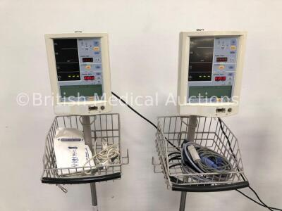 4 x Datascope Accutorr Plus Patient Monitors on Stands with 4 x BP Hoses,4 x BP Cuffs and 4 x SpO2 Finger Sensors (All Power Up- 1 x Won't Turn On Due - 2