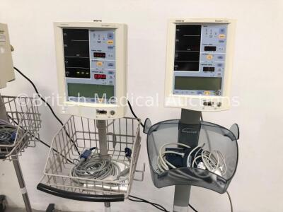 4 x Datascope Accutorr Plus Patient Monitors on Stands with 4 x BP Hoses,4 x BP Cuffs and 4 x SpO2 Finger Sensors (All Power Up- 1 x Won't Turn On Due - 3