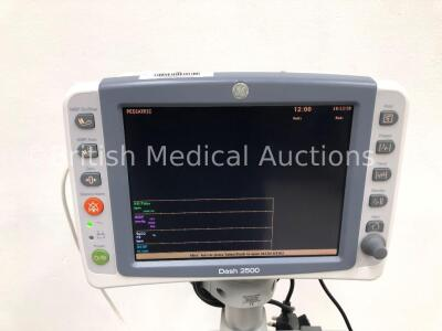 GE Dash 2500 Patient Monitor with SpO2,ECG,NIBP Options and 1 x SpO2 Finger Sensor (Powers Up) * Mfd 2010 * - 2