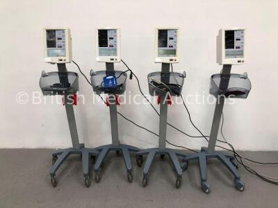 4 x Datascope Accutorr Plus Patient Monitors on Stands with 2 x BP Hoses and 4 x BP Cuffs (All Power Up)