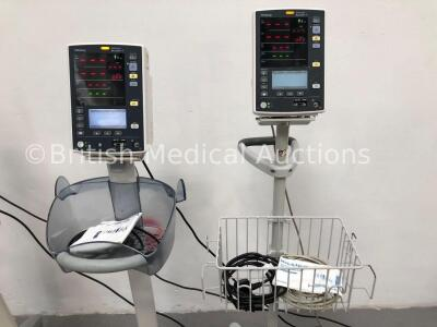 4 x Mindray Datascope Accutorr V Patient Monitors on Stands with 4 x BP Cuffs and 1 x BP Hose (3 x Power Up, 1 x Draws Power-Faulty Battery) - 3