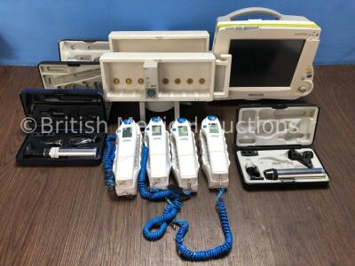 1 x Philips IntelliVue Patient Monitor (Spares and Repairs), 2 x Philips Module Racks, 1 x Masimo SET IntelliVue SPO2 Module (Damaged), 4 x First Temp