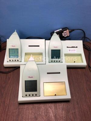 3 x Kamplex MTP10 Handheld Middle Ear Analyzer with Docking Stations and Power Supplies (All Power Up) *S/N 68547 / 70209 / 68547*