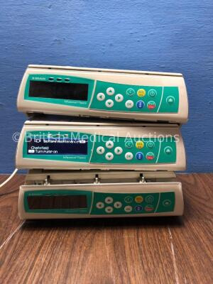 3 x B Braun Infusomat Space Infusion Pumps (2 Power Up 1 with Alarm, 1 No Power with Faulty Door Panel-Power Supplies Not Included) *021906 / 023013 /