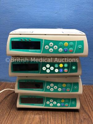 4 x B Braun Infusomat Space Infusion Pumps (All Power Up, 2 with Alarms-Power Supplies Not Included) *020706 / 021078 / 018955 / 018247*