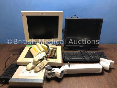 Mixed Lot Including 1 x Philips 19 Inch LCD Monitor, 1 x HP Keyboard, 1 x GE DFM 17 Inch Monitor, 1 x GE Marquette Monitor, 1 x Monitor Bracket and 1
