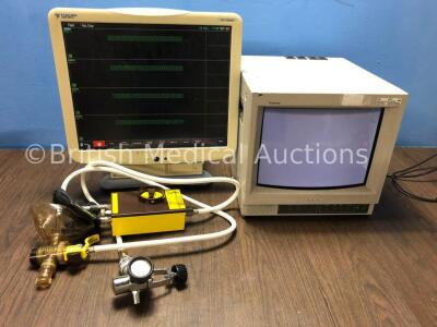 1 x Fukuda Denshi DS-7680W Patient Monitor, 1 x Sony Trinitron Monitor and 1 x SOS Pace Resuscitator with Hose