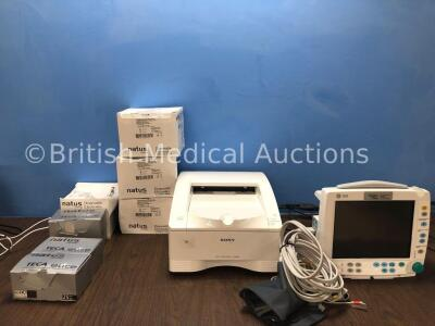 Mixed Lot Including 1 x Sony UP-DR80MD Printer (Powers Up) 1 x GE B30 Patient Monitor with 1 x GE E-PSMP Module Including ECG, SpO2, P1, P2, T1, T2 an