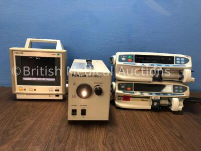 Mixed Lot Including 1 x Philips M3 M3046A Patient Monitor (Powers Up) 1 x Pentax LH-150PC Light Source (Powers Up) 1 x Carefusion Alaris CC Syringe Pu