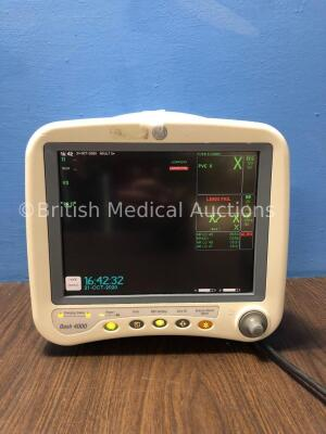 GE Dash 4000 Patient Monitor Including ECG, NBP, CO2, BP 1/3, BP 2/4, SpO2 andTemp/CO Options with 2 x SM 201-6 Battery (Powers Up) *SD007293702GA*
