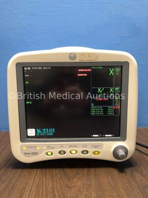 GE Dash 4000 Patient Monitor Including ECG, NBP, CO2, BP 1/3, BP 2/4, SpO2 andTemp/CO Options with 2 x SM 201-6 Battery (Powers Up) *SD009244348GA*
