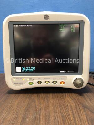 GE Dash 4000 Patient Monitor Including ECG, NBP, CO2, BP 1/3, BP 2/4, SpO2 andTemp/CO Options with 2 x SM 201-6 Battery (Powers Up)
