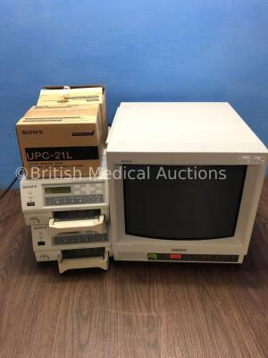 1 x Sony Trinitron Monitor (Powers Up) 2 x Sony UP-21MD Colour Video Printers and 2 x Sony UPC-21L Color Printing Packs