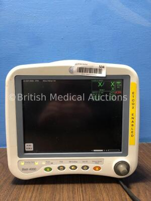 GE Dash 4000 Patient Monitor Including ECG, NBP, CO2, BP 1/3, BP 2/4, SpO2 andTemp/CO Options with 2 x SM 201-6 Battery (Powers Up with Missing Batter