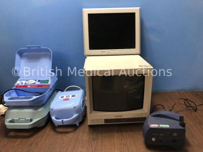 Mixed Lot Including 1 x Medix AC 2000 Nebulizers (Both Power Up) 1 x Medix Actineb Nebulizer (Powers Up) 1 x Sony Trinitron Monitor (Powers Up) 1 x He