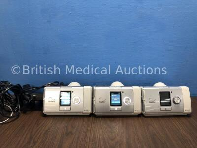 3 x ResMed Aircurve 10 VAUTO CPAP Units with 2 x AC Power Supplies (All Power Up) *27618 / 22371 / 21474*