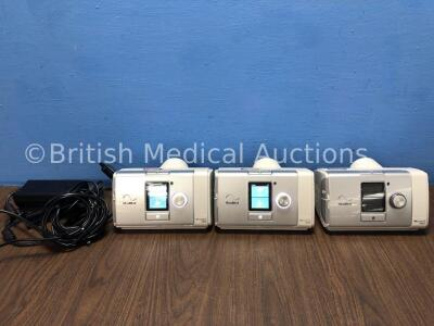 3 x ResMed Aircurve 10 VAUTO CPAP Units with 2 x AC Power Supplies (All Power Up) *26420 / 24870 / 28065*
