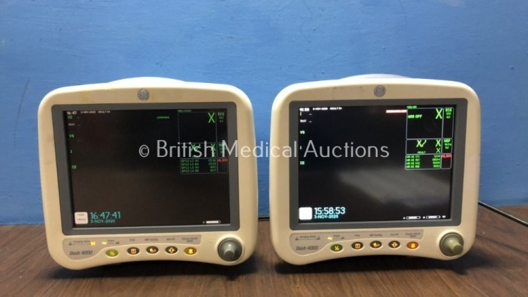 1 x GE Dash 4000 Patient Monitor Including ECG, NBP, CO2, BP1, BP2, SpO2 and Temp/co Options, 1 x GE Dash 4000 Patient Monitor Including ECG, NBP, CO2