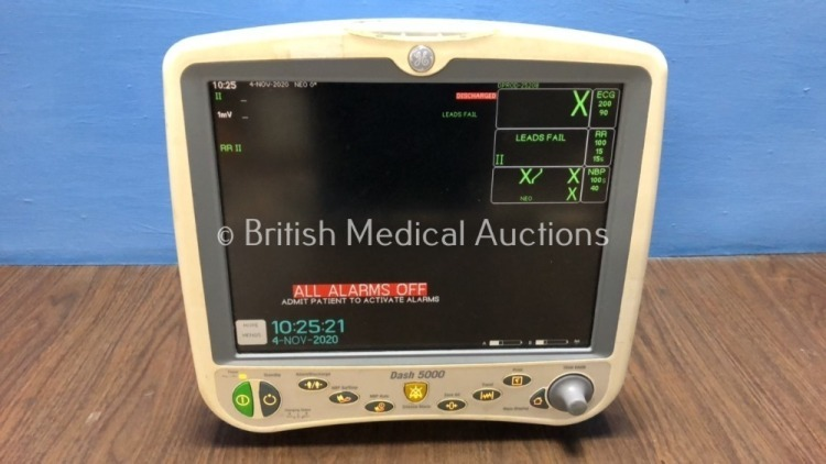 GE Dash 5000 Patient Monitor Including ECG, NBP, CO2, BP1, BP2, SpO2 and Temp/co Options with 2 x GE SM 201-6 Batteries (Powers Up)
