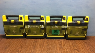 4 x Cardiac Science Powerheart AED G3 Automated External Defibrillators (All Power Up with Service Required Message - Batteries Not Included)