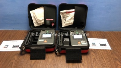 2 x Philips Heartstart FR3 Defibrillators with Batteries - Install Dates 2024-12 in Cases (Both Power Up) *C14F-01142 / C16E-01085*