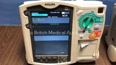 2 x Philips Heartstart MRx Defibrillators Including Pacer, ECG and Printer Option with 2 x Philips M3539A Batteries, 2 x Philips M3538 Module, 2 x Pad - 3