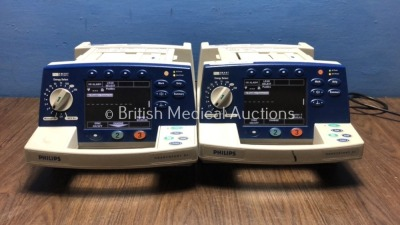 2 x Philips HeartStart XL Smart Biphasic Defibrillators with Pacer,ECG and Printer Options (Both Power Up) * SN US00443823 / US00461682 *