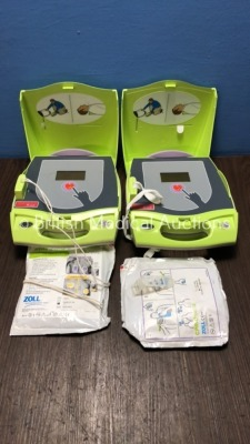 2 x Zoll AED Plus Defibrillators with Pads (Both Power Up - 1 x Good Battery Included) *S/N X05E059862 / X05E061009* (s)