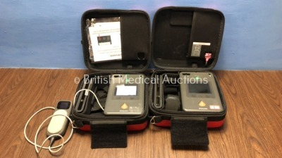 2 x Philips Heartstart FR3 Defibrillators in Cases with 1 x Battery and 1 x QCPR Meter (Both Power Up) *C15A-01208 / C14F-01177* (H)