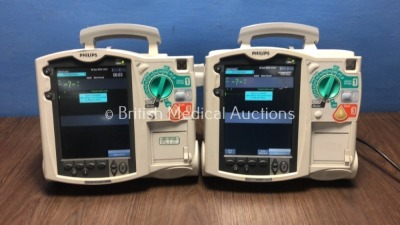 1 x Philips HeartStart MRx Defibrillator with BP1,BP2,NBP,ECG,SpO2,Press and Printer Options with Module and Battery and 1 x Philips HeartStart MRx De