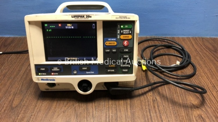 Medtronic Physio-Control Lifepak 20e Defibrillator / Monitor *Mfd - 2012* with Battery and Paddle Lead, Pacer, ECG and Printer Options (Powers Up)