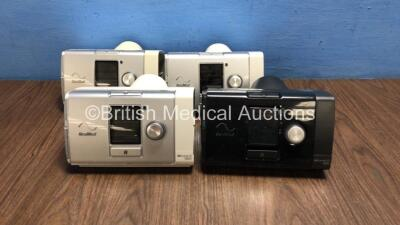 Job Lot Including 3 x ResMed AirCurve 10 VAUTO CPAPs (All Power Up with Stock Power Supplies, Power Supplies Not Included, All Missing Humidifier Chambers, 2 x Missing Filter Covers - See Photos) and 1 x ResMed AirSense 10 Elite CPAP (Powers Up with Stock