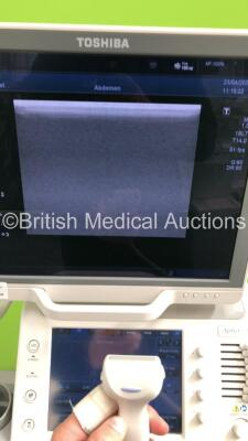 Toshiba Aplio 500 TUS-A500 Flat Screen Ultrasound Scanner *S/N T1E1323856* **Mfd 02/2013* Software Version V3.00*R002 with 4 x Transducers / Probes (PVT-661VT *Mfd 01/2007* / PVT-375BT *Mfd 2010* / PLT-1204BT *Mfd 03/2012* and PVT-674BT *Mfd 01/2006*) (Po - 14