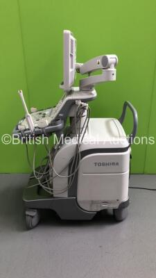 Toshiba Aplio 500 TUS-A500 Flat Screen Ultrasound Scanner *S/N T1E1323856* **Mfd 02/2013* Software Version V3.00*R002 with 4 x Transducers / Probes (PVT-661VT *Mfd 01/2007* / PVT-375BT *Mfd 2010* / PLT-1204BT *Mfd 03/2012* and PVT-674BT *Mfd 01/2006*) (Po - 20