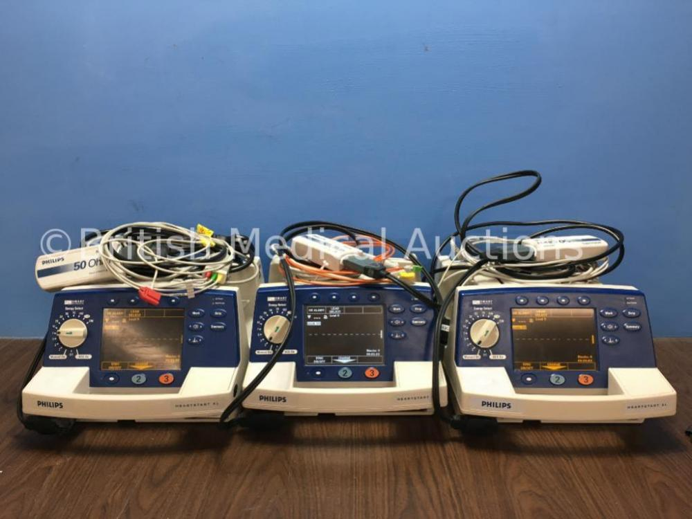 3 x Philips HeartStart XL Smart Biphasic Defibrillators with